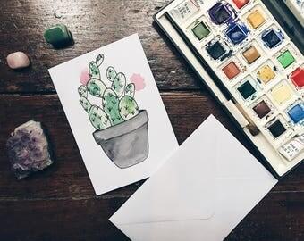 Cactus watercolour handmade greetings card.