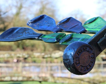 Large Reclaimed Metal and Slumped Glass Triple Dragonfly Garden Sculpture