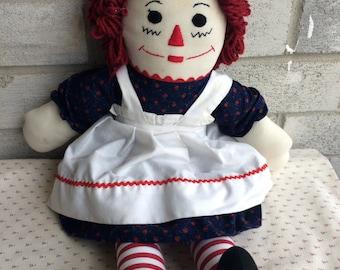 Vintage Handmade 20 Inch Raggedy Ann Doll, Raggedy Ann Doll, Rageddy Ann doll, Rag doll