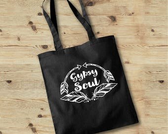 Gypsy Soul Bag, Hippie Tote Bag, Gypsy Soul Tote Bag, Gypsy Tote Bag, Boho Travel Bag, Boho Tote Bag, Typography Tote, Feather Print Bag