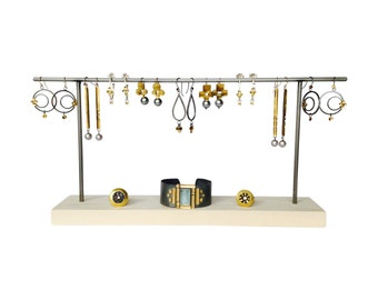 Earring display - Metal and Wood Jewelry Display for Craft Show Display or Retail Display