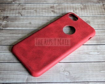 FREE SHIPPING - Red iPhone 7 Ultra Slim Leather Case