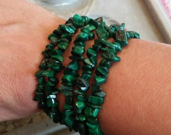 Malachite Chip Bead Stretch Bracelet