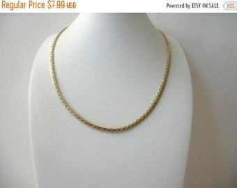 ON SALE Vintage SP Stamped Two Tone Metal Chain Links 17 Inches Necklace 030217