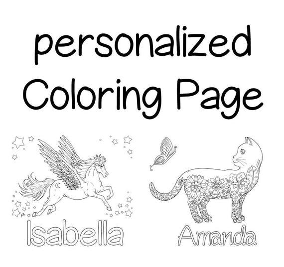 Items similar to personalized coloring page gift idea for Custom name coloring pages
