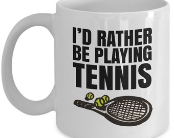 Tennis lover gift mug, funny tennis racket/racquet/ball, tennis lovers coffee cup