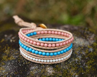 Summer Three Wrap Swarovski Pearl Bracelet