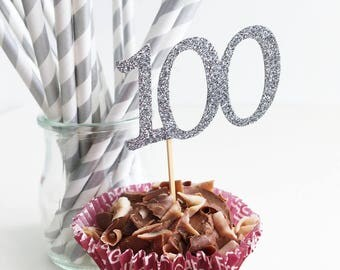 100th Birthday Cupcake Toppers, Glitter Toppers, One Hundred Years, Centenary,  Anniversary Celebration, Set of 10, Customised Colours