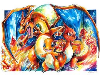 Pokemon Print ~ The Chamander Family