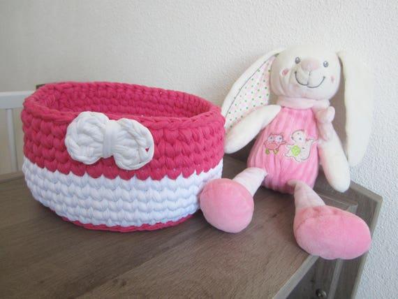 Panier crochet fille, déco chambre bébé, cadeau naissance fille, rangements de bébé, corbeille fuchsia et blanc, déco chambre fille, panier