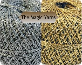SALE -Silver yarn,Golden yarn,Brocade yarn, lurex yarn, sparkle yarn,gloss and shine,lurex,lame yarn,metallic thread,gold,silver,lace, 2 ply