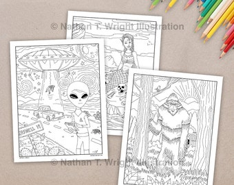 printable adult coloring book cryptozoology coloring book mythical creatures 14 coloring pages