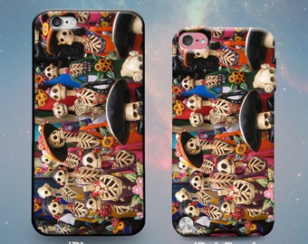 La Calavera Catrina Dolls Skeletons Spanish Rubber Case for iPhone 7 Plus iPhone 7 iPhone 6s 6 Plus iPhone 5s 5 5c iPhone SE iPod Touch