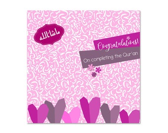 Congratulations on Completing the Quran - Girls Islamic Card