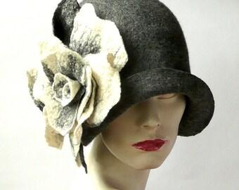 Gray Felted cloche Hat felt hat Cloche Hat felted cloche 1920 Hat Art Gray Hat Cloche Victorian hat 1920's  Women's hat 1920's hats