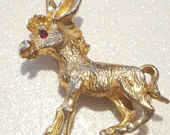Vintage Goldtone Donkey Pin Brooch