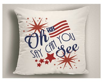 Patriotic Decor, 4th of July Decoration Oh Say Can You See, Patriotic Outdoor Pillow, Red White and Blue Patio Pillow, Outdoor Cushions