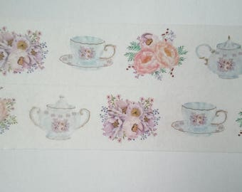 Design Washi tape cups of tea flowers