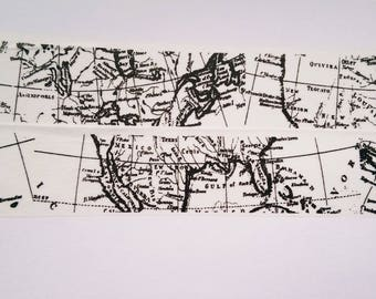 Washi tape black white world map