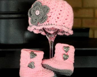 Pink baby BOOTS and hat, Pink baby girl boots with HEART buttons, Pink and Grey BABY hat, select your color below