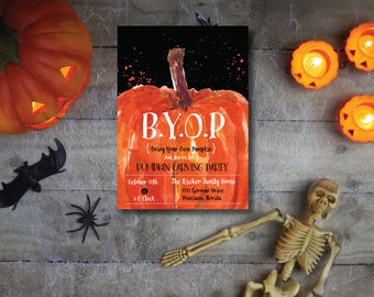 B.Y.O.P (Bring Your Own Pumpkin) DIY Printable Halloween Carving Party Invitation