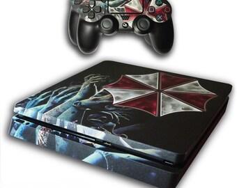 PS4 Slim Skin Exclusive RESIDENT EVIL Umbrella BIOHAZARD Skin with 2 Controller Skins Playstation 4