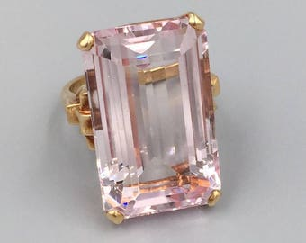 14K Gold Morganite Pink Beryl Ring - Vintage 1940s 28 Carats Morganite Rectangular Step Cut Statement Ring, 38th Anniversary Gift