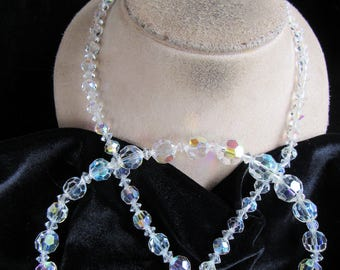 Vintage Long Graduated Aurora Borialis Crystal Beaded Necklace