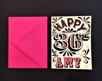 hot pink and black hand lettered customized happy birthday card