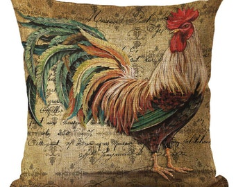 Rooster Pillow, Animal Pillow, Pillow Case, Rooster