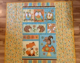 Hoot Hoot Hooray quilt blanket, handmade