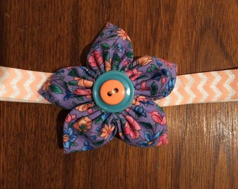 Purple flower on peach chevron elastic
