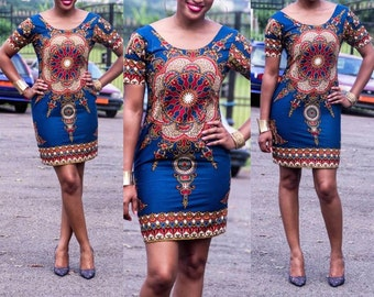 Starburst African Dress with Sleeves