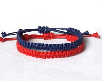 Couple Bracelet Navy blue and red bracelet His and Her bracelet Couples bracelet set friendship bracelet Macrame bracelet Best friend gift