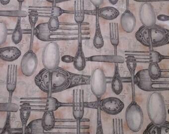 SALE......Vintage Silverware Fabric Tea Background 1 Yard Cotton