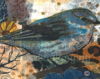 Art PrintBluebird from my original art collage, ACEO, note card, 8 x8 inch print