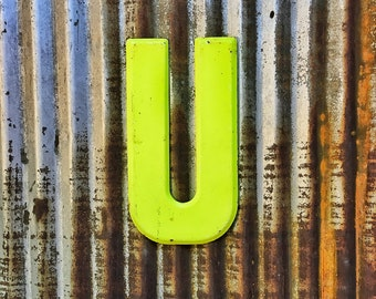 Vintage Metal Marquee Sign Letter, Metal Letter U, Industrial Metal Letter, Sign Letter