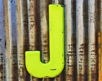 Vintage Metal Marquee Sign Letter, Metal Letter J, Industrial Metal Letter, Old Sign Letter, Galvanized Letter, Wedding Letter