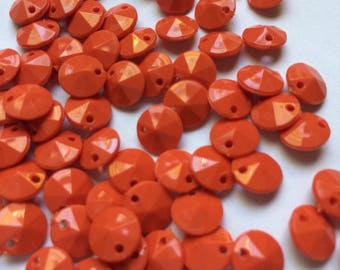 71 Vintage orange 4mm Rivoli Acrylic Beads from the '80s