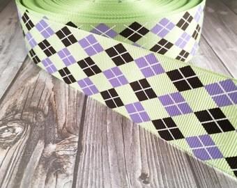 "Argyle 1.5"" RIbbon - Harlequin ribbon - Crazy sock day ribbon - Golf ribbon - Sewing ribbon - Green purple - Black white - Spirit week"