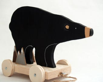 Black Bear Pull Toy - Rustic home decor, Wooden toy, bear on wheels, natural eco toys, home decor, american bear, wooden animals, wood toys