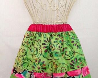 Reversible Green Batik & Pink Polka Dots Skirt