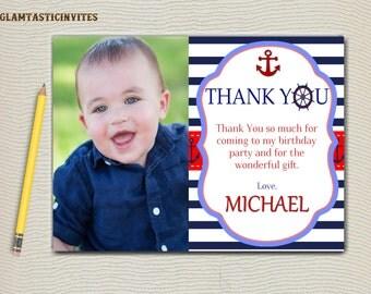 Nautical Thank You Card, Anchor Thank You Card, Sailor Thank You Card, Nautical, Anchors Away, Ahoy Thank You, Birthday Thank You, Thank You