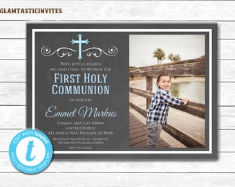 First Communion Invitation Boy, Boy First Communion TEMPLATE, First Communion Invitation Printable, First Communion Boy, INSTANT DOWNLOAD