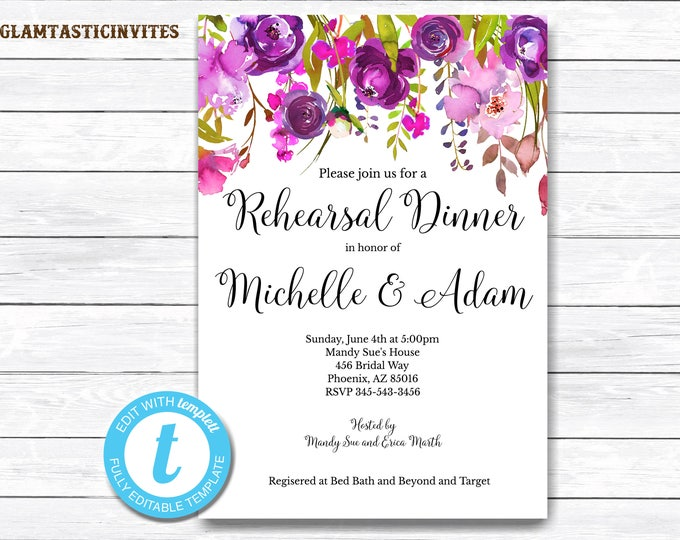 Rehearsal Dinner Invitation Template, YOU EDIT, Floral Rehearsal Dinner Invitation, Invitation Template, Editable, Editable Rehearsal Invite
