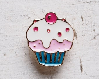 Cute Cherry Topped Cupcake Enamel Lapel Pin