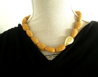 mustard necklace, lava necklace, statement necklace, chunky necklace, chunky statement necklace, lava jewelry, lava stone necklace