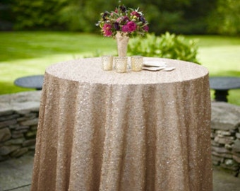 Champagne Sequin Tablecloth for Wedding and all other Events! Runners, Overlays, Rounds, Squares and Rectangular!