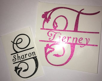 Glitter Name and Initial Vinyl Decal