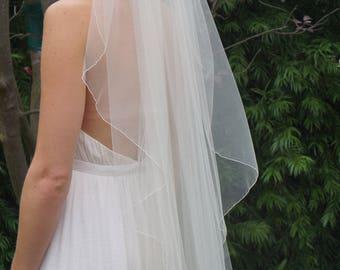 Alanna, Waterfall Veil, Chapel Length Veil, Finger-Tip Veil, Fine Pencil Edge Veil, Bridal Veil, Custom-Made Veil, Made-to-Order Veil